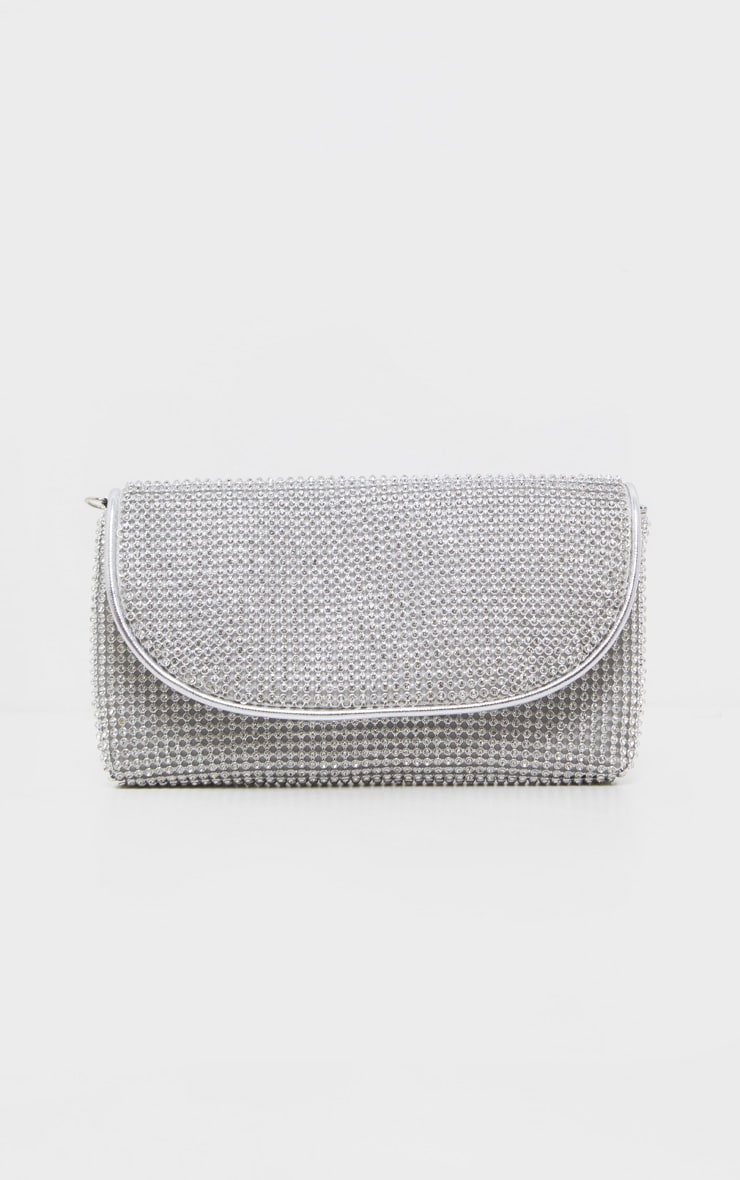 Silver Diamante Mini Clutch Bag  2