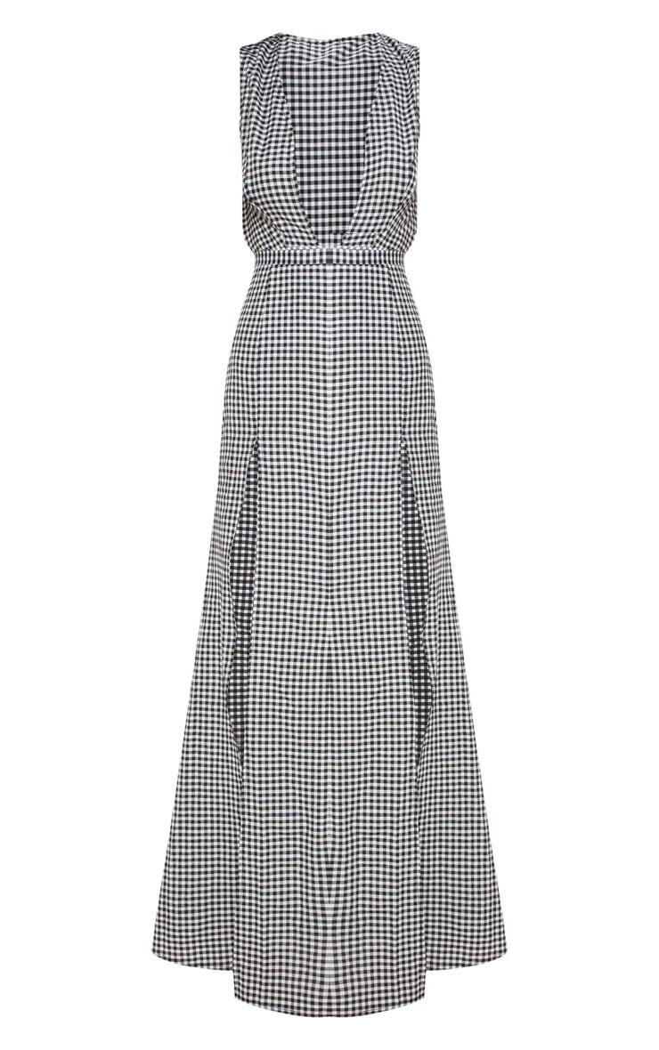Black Gingham Plunge Tie Split Maxi Dress 3