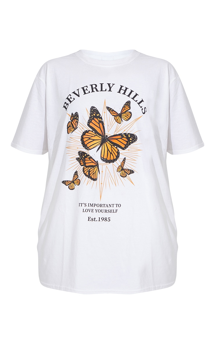 White Beverly Hills Butterfly Printed T Shirt 6