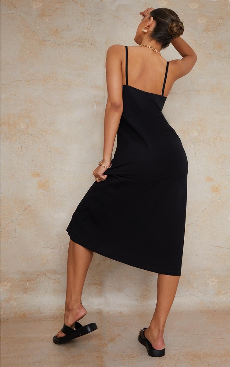 Black Linen Wooden Button Down Strappy Slip Maxi Dress 2