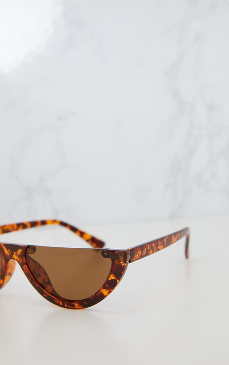 Brown Tortoiseshell Rounded Half Frame Retro Sunglasses 3