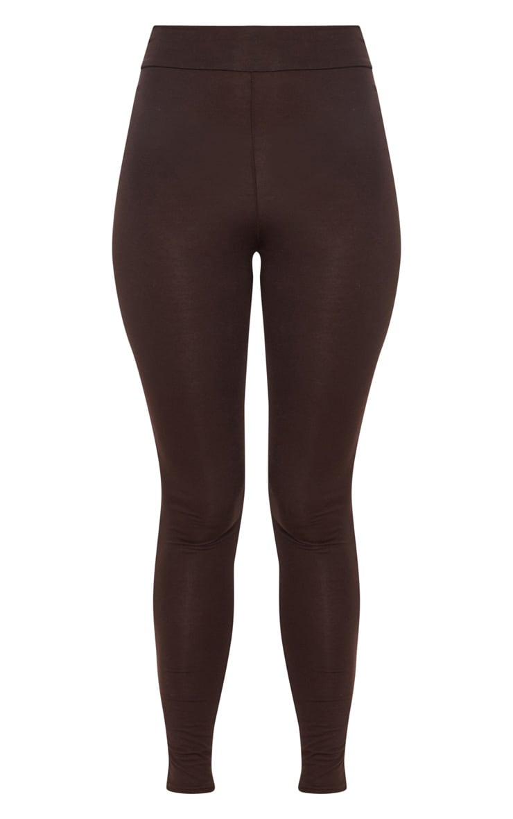 Basic Chocolate High Waisted Jersey Leggings 3