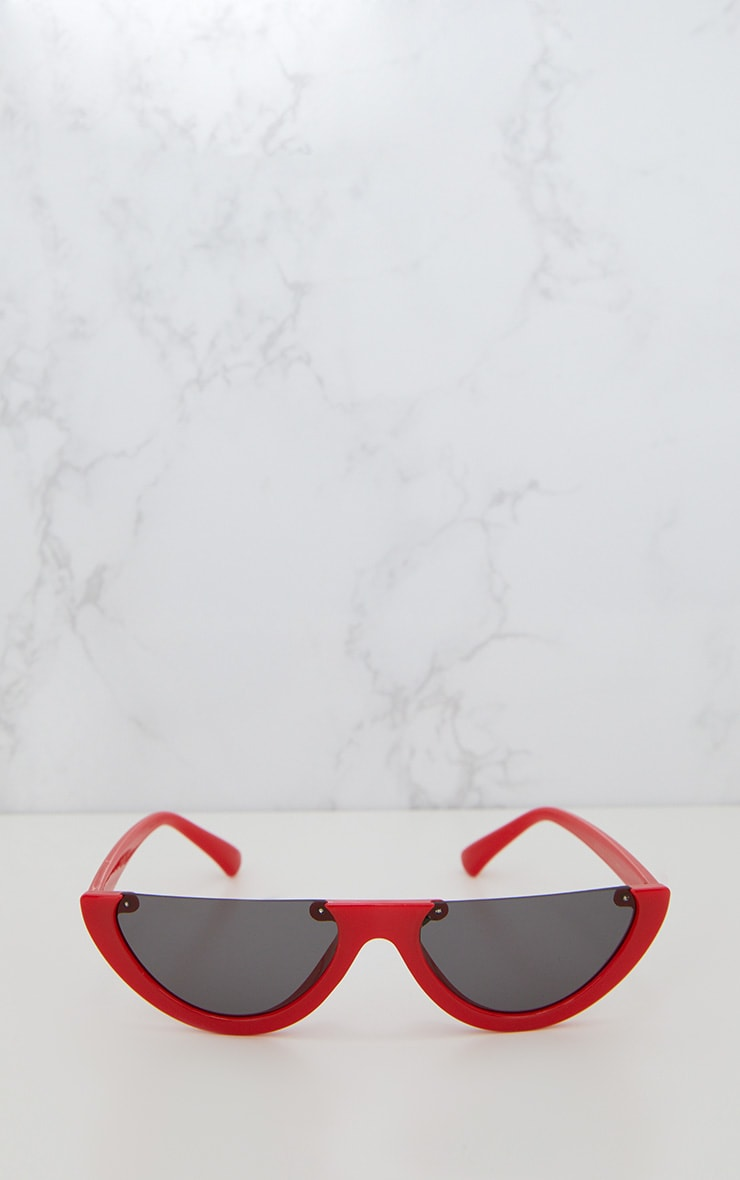 Red Rounded Half Frame Retro Sunglasses 3