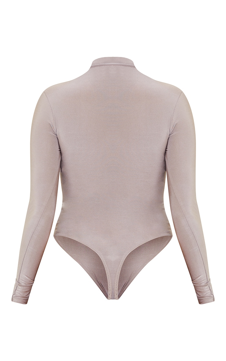 Shape Grey Disco High Neck Zip Detail Bodysuit 6