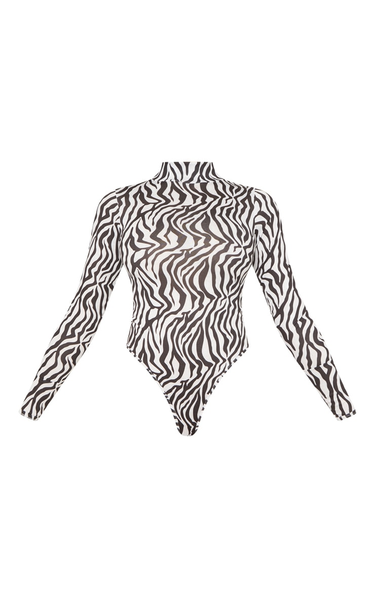 Tall White Zebra Print Roll Neck Bodysuit 3