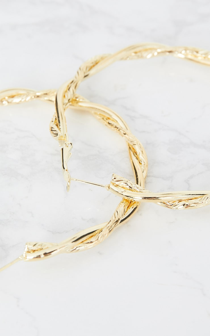 Gold Twisted Hoop Earrings 5