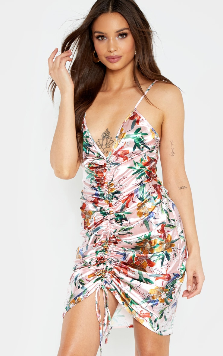Dusty Pink Floral Strappy Satin Ruched Bodycon Dress 1