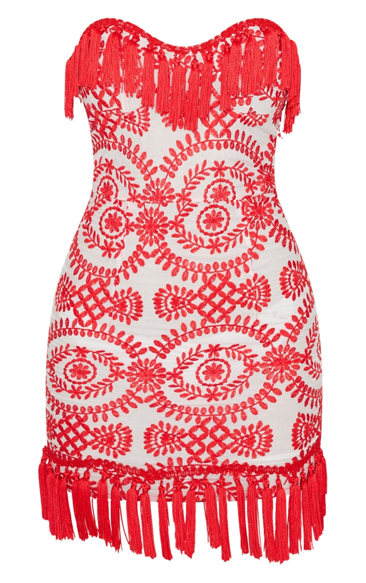 Red Broderie Red Anglaise Tassel Trim Bodycon Dress 3