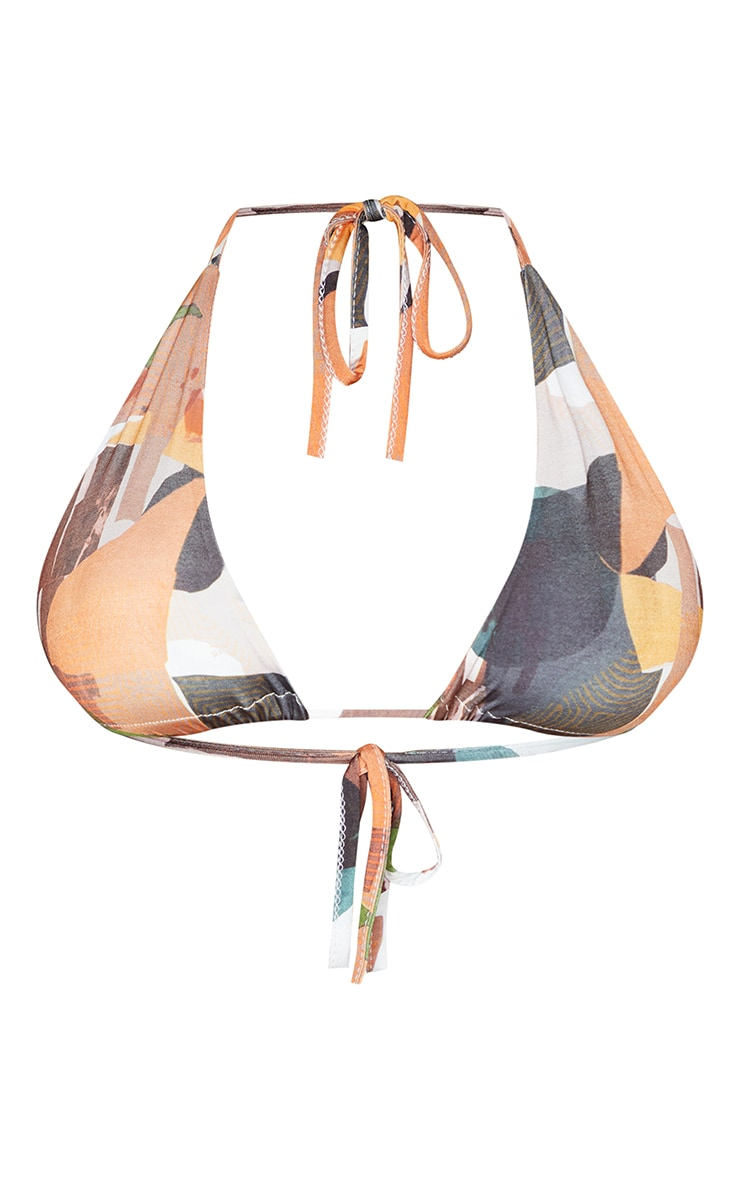 Rust Abstract Print Slinky Triangle Bralet 5