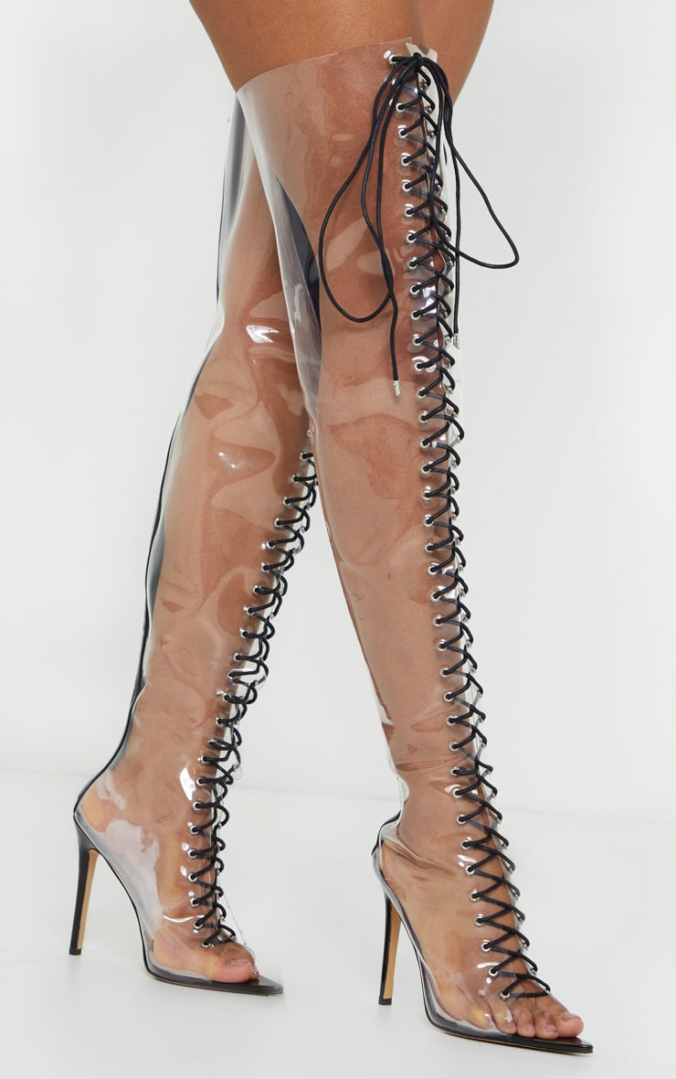 Clear Lace Up Thigh High Boots 1