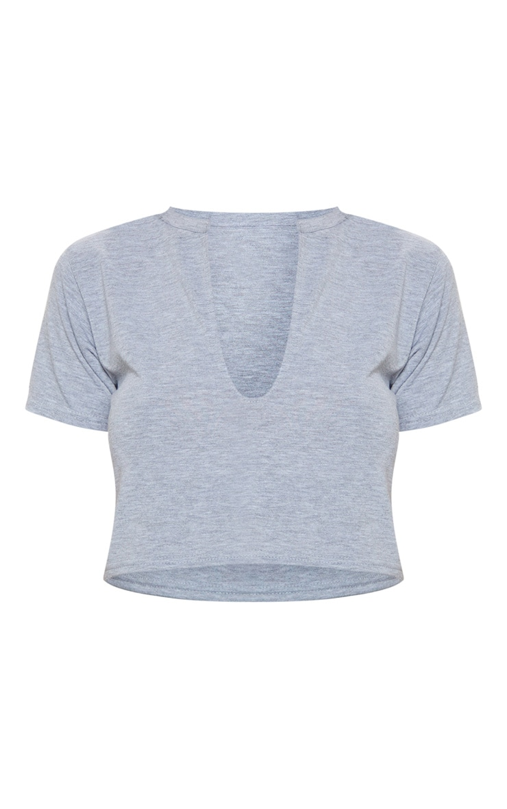Basic Grey V Neck Crop T Shirt 4