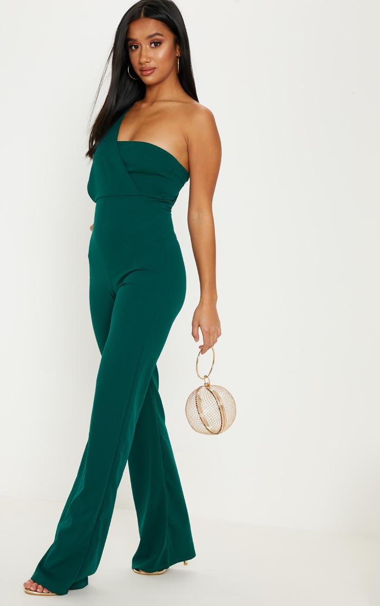 Petite Emerald Green Drape One Shoulder Jumpsuit 4