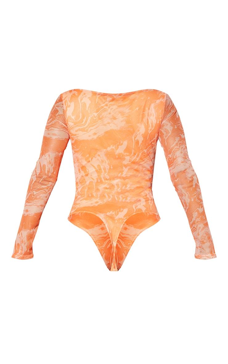Burnt Orange Abstract Marble Mesh Print Cup Detail Long Sleeve Bodysuit 6