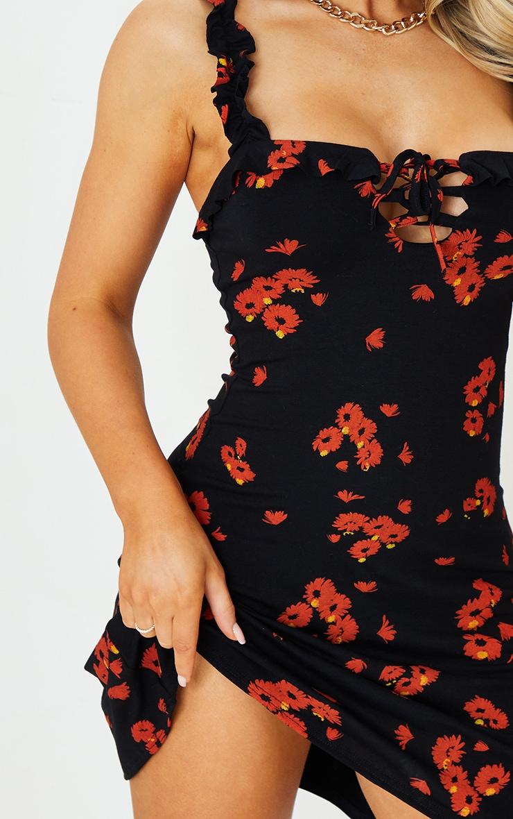 Black Daisy Print Frill Detail Shift Dress 4