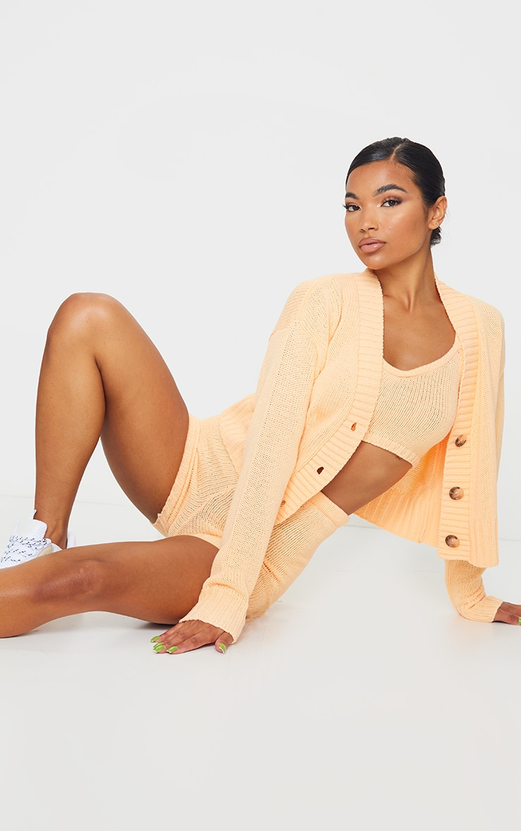 Peach Knitted Button Crop Cardigan 3