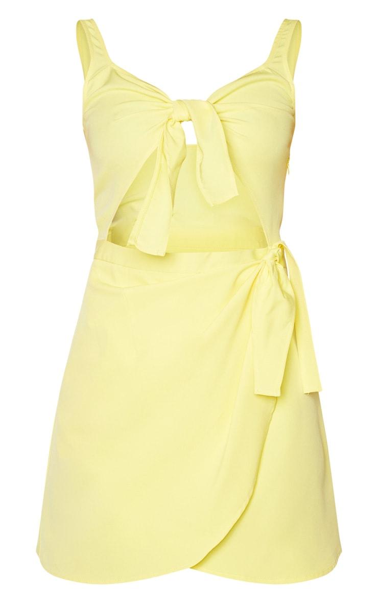 Lemon Sleeveless Double Tie Detail Bodycon Dress 5