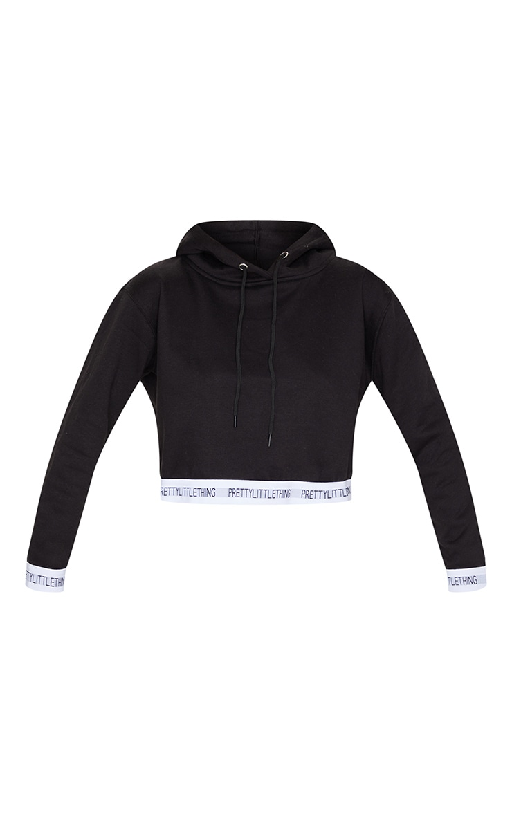 PRETTYLITTLETHING Black Trim Cropped Hoodie 5