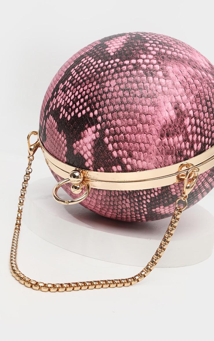 Pink Snake Sphere Mini Clutch Bag 5