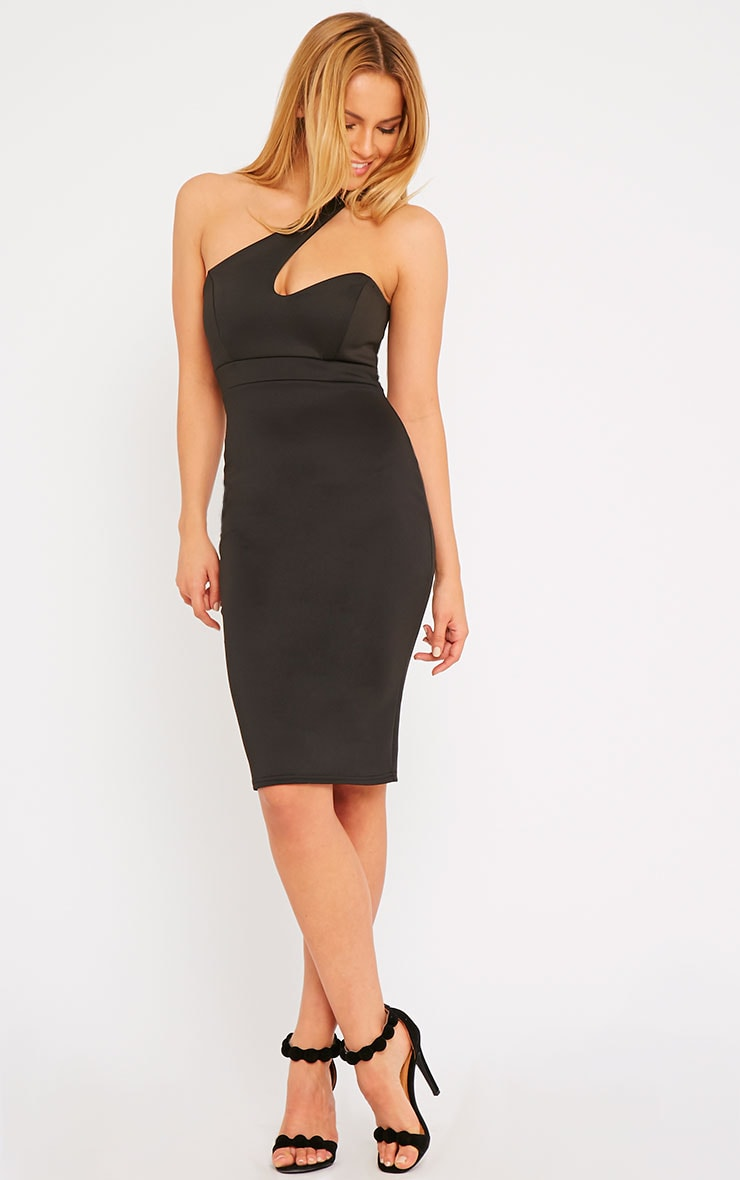 Sonia Black One Shoulder Midi Dress 3