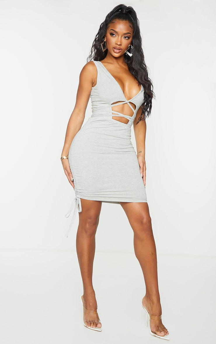 Shape Grey Cotton Ruched Side Bodycon Skirt 4