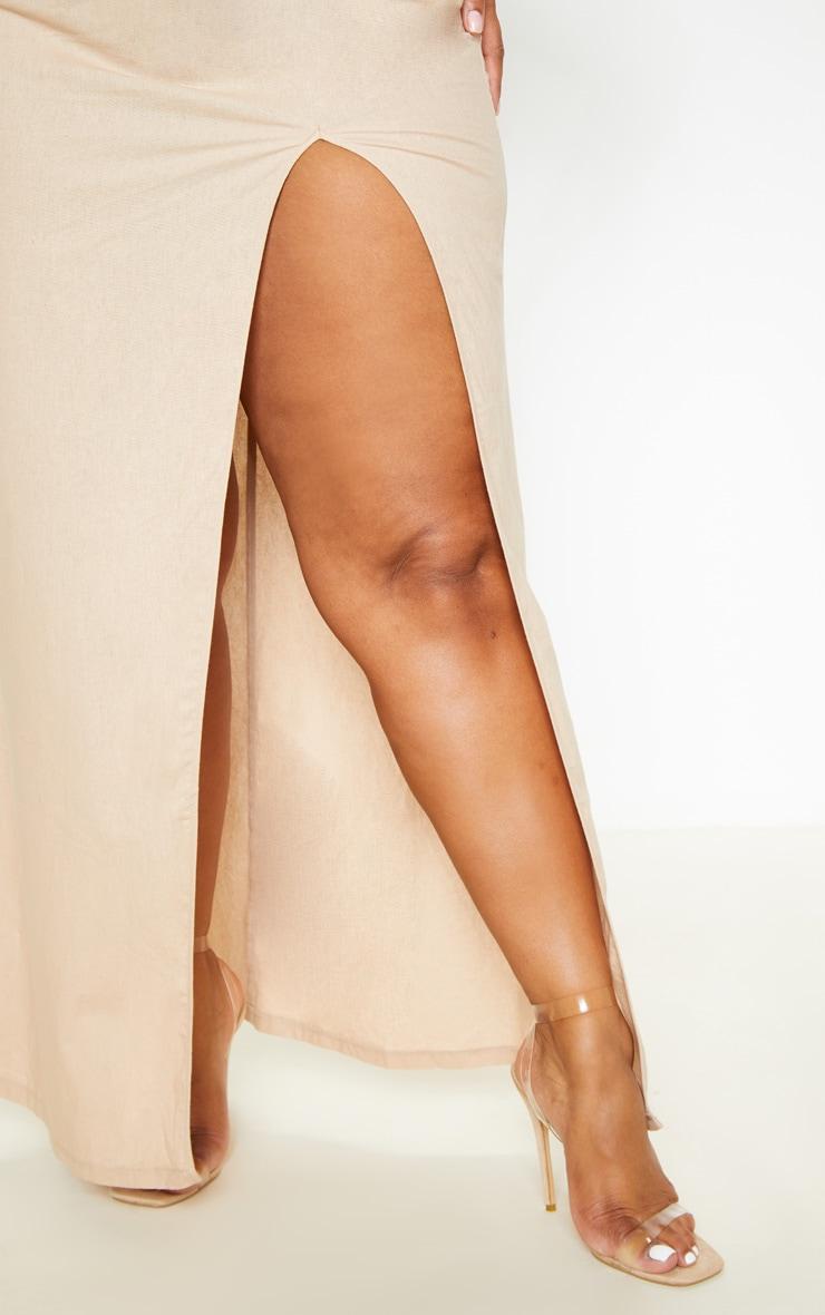 Plus Stone Woven Asymmetric Maxi Dress  5