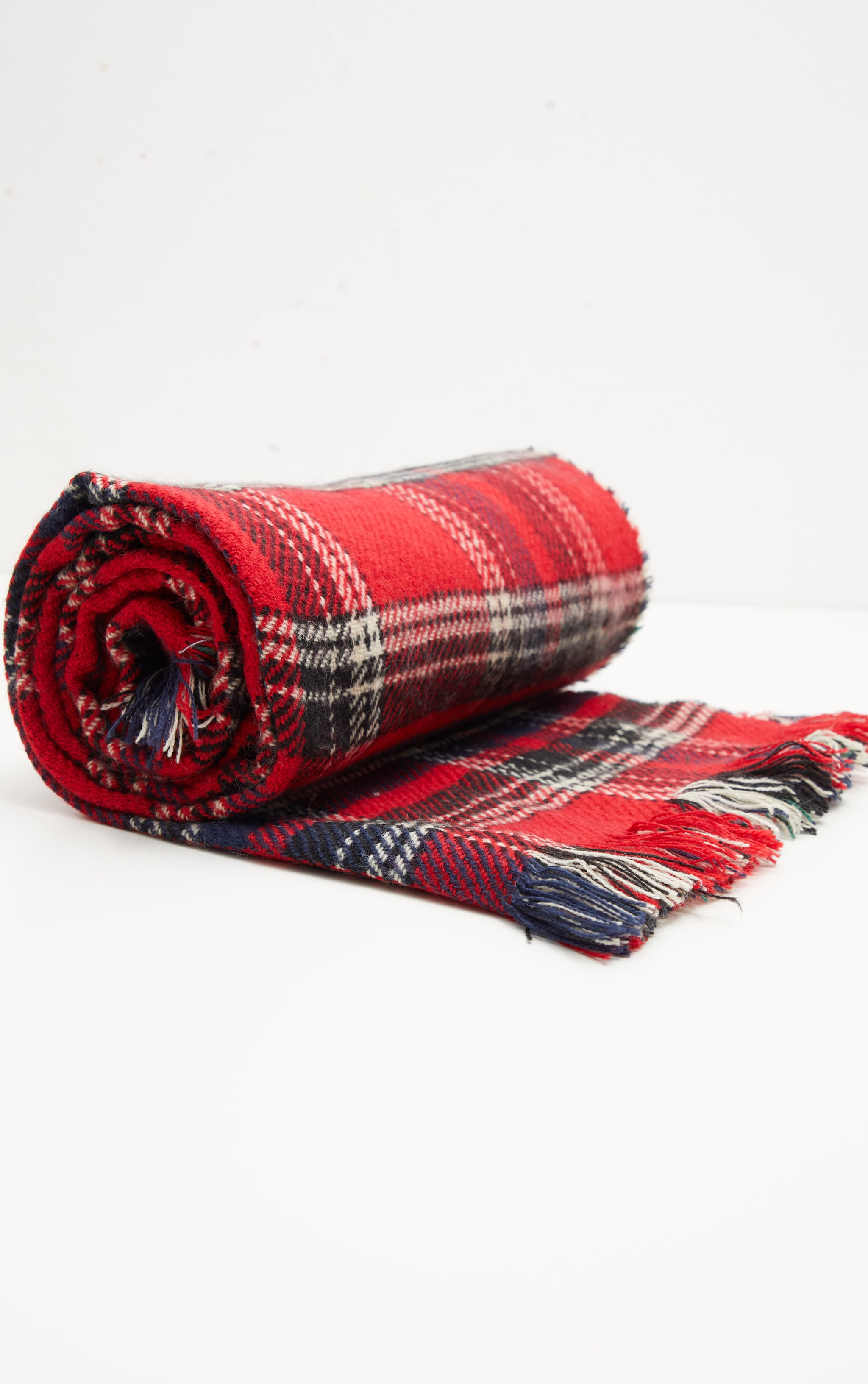 Red Tartan Check Reversible Knitted Scarf 4