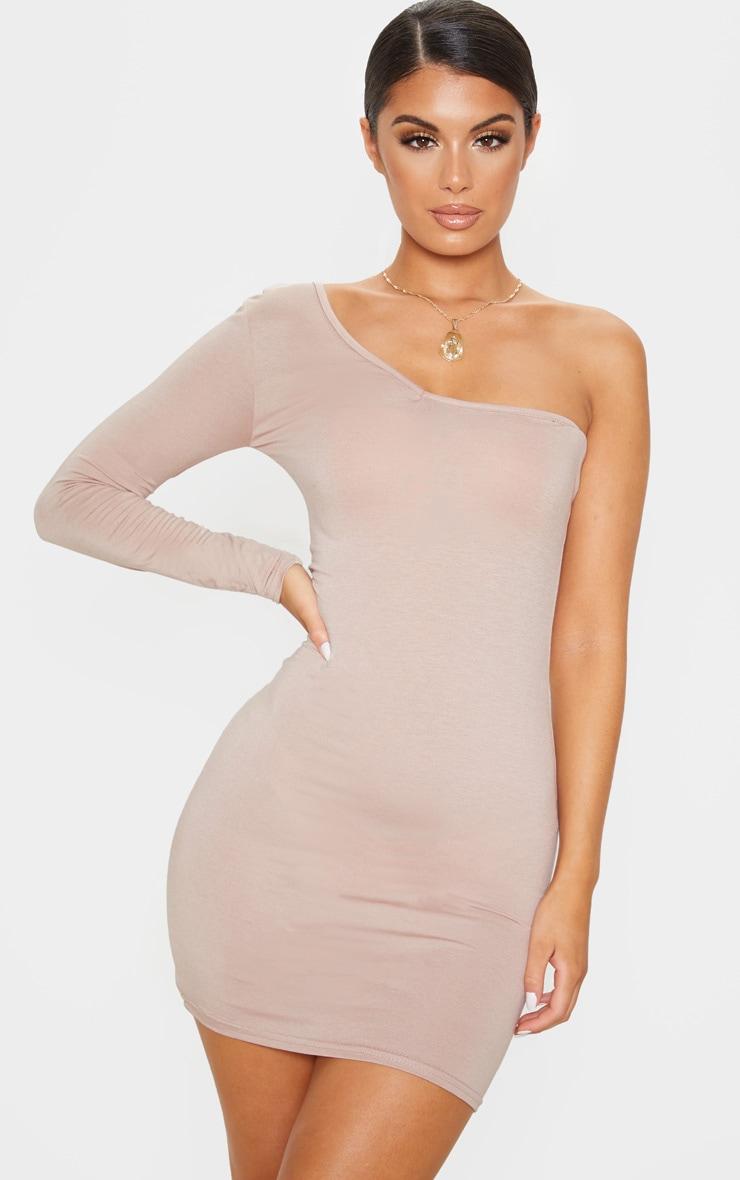 Stone One Shoulder Basic Bodycon Dress 1
