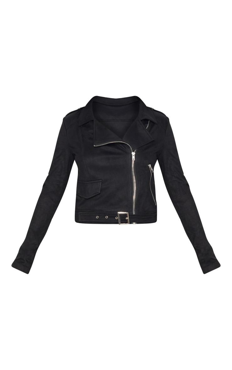 Petite Black Faux Suede Biker Jacket 3