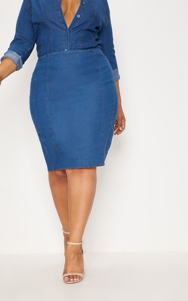 Plus Mid Wash Seam Detail Denim Midi Skirt 2