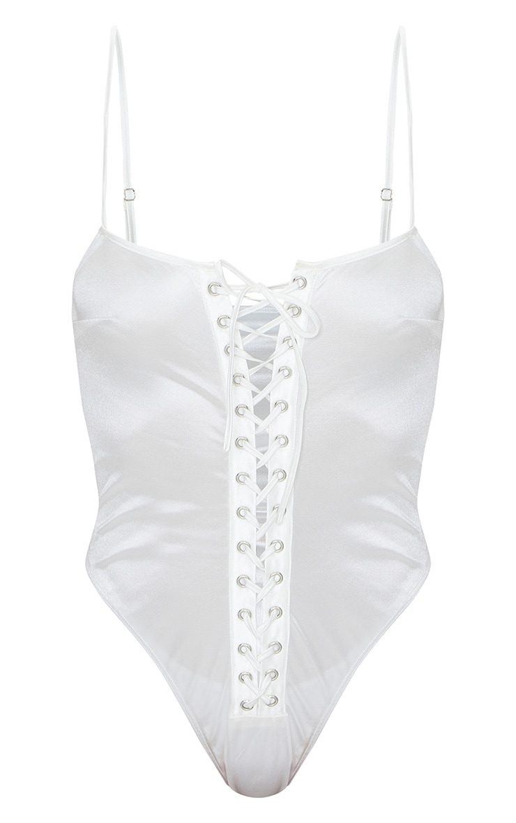 White Satin Lace Up Front Bodysuit 5