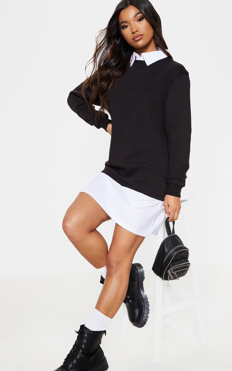 clearance incredible prices hot-selling discount Black Shirt Collar Jumper Dress