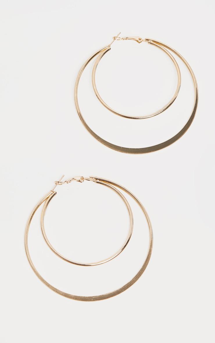 Gold Double Hoop Earrings 2