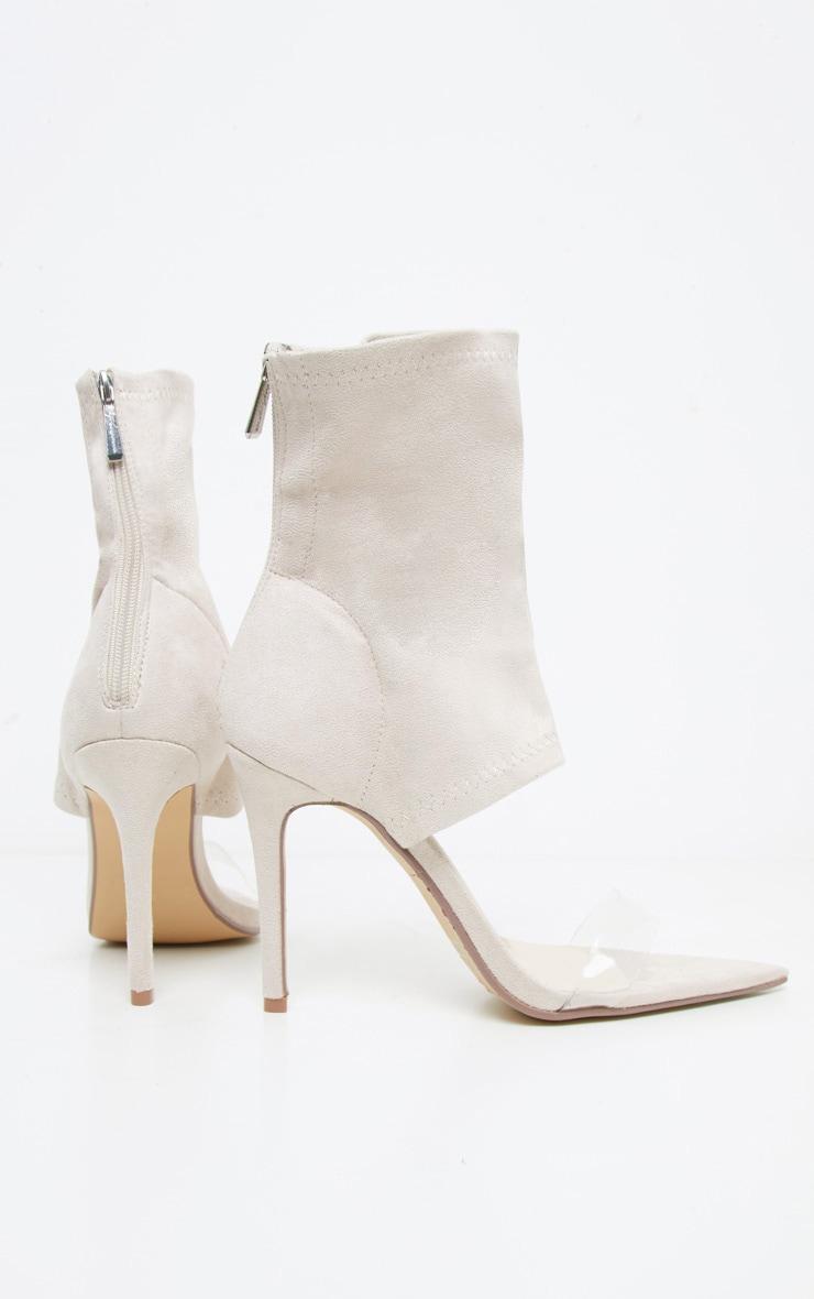 Beige Point Toe Lycra Sock Boot 4