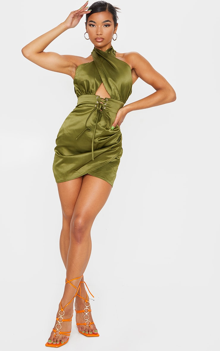 Olive Satin Halterneck Lace Up Ruched Bodycon Dress 1