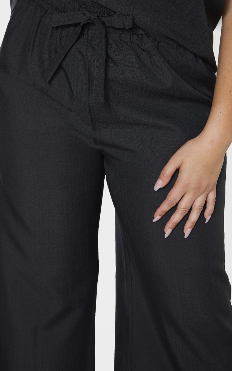 Plus Black Woven Wide Leg Tie Waist Pants 5