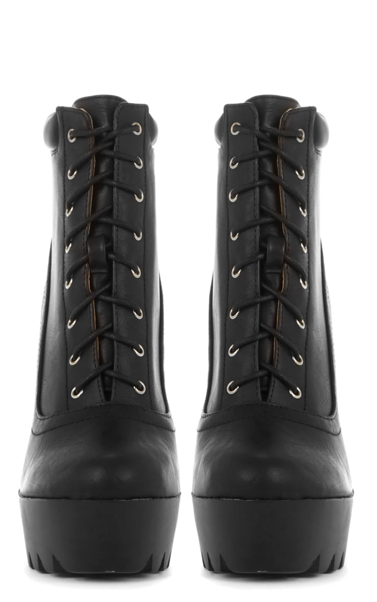 Carys Black Lace Up Cleated Boot 3