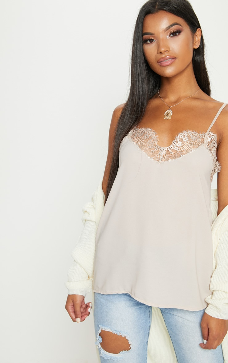 Nude Lace Trim Cami Top 1