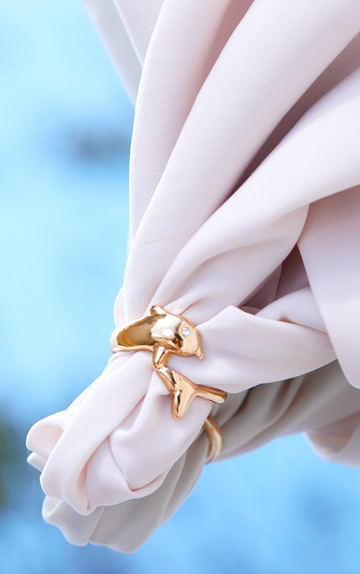 Gold Dainty Dolphin Ring 3