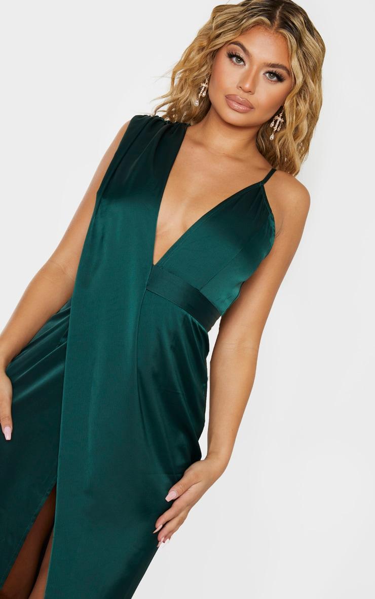 Emerald Green Asymmetric Drape Detail Maxi Dress 5