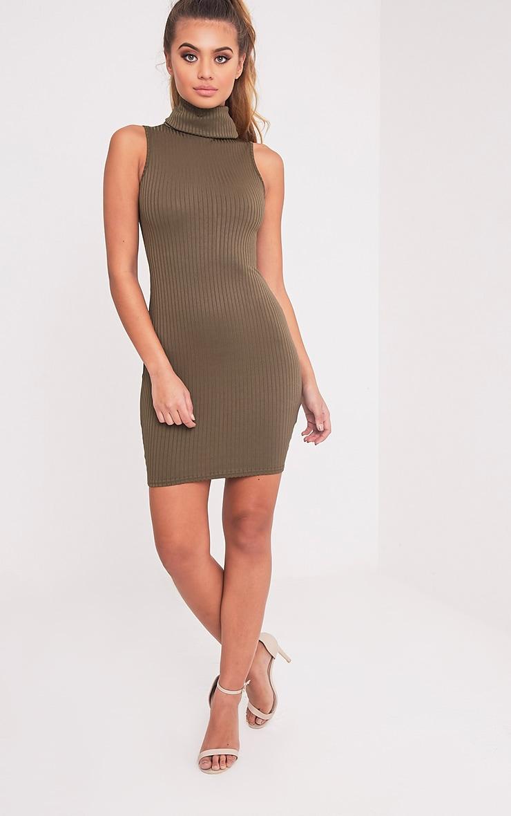 Marissa Khaki Ribbed Turtle Neck Mini Dress 5