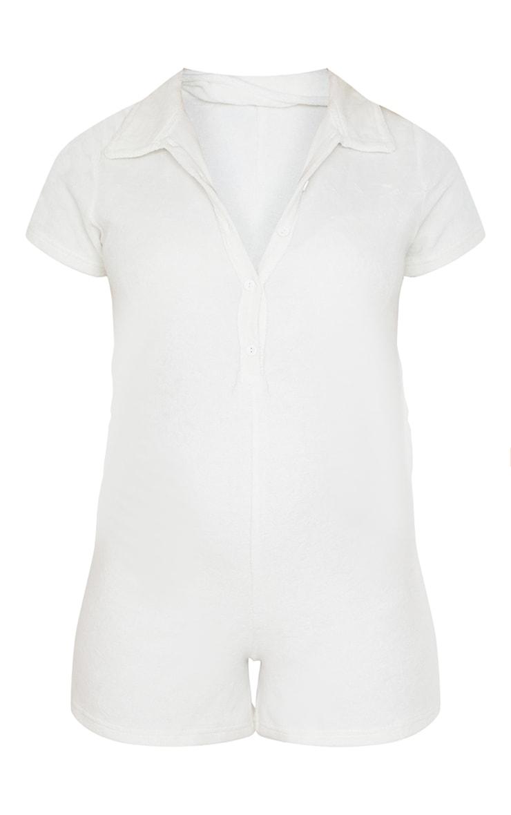 Maternity Cream Towelling Short Sleeve Playsuit 5