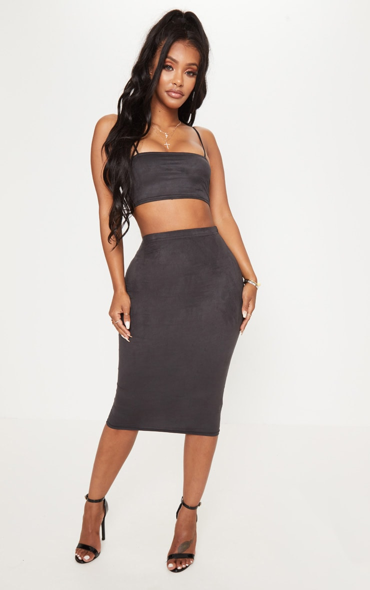 Shape Black Faux Suede Midi Skirt 1