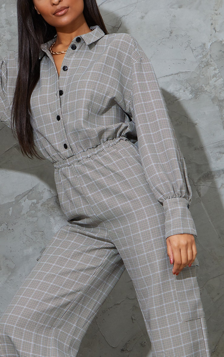 Beige Check Pocket Wide Leg Shirt Jumpsuit 4