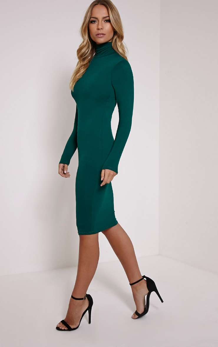 Basic Bottle Green Roll Neck Midi Dress 3