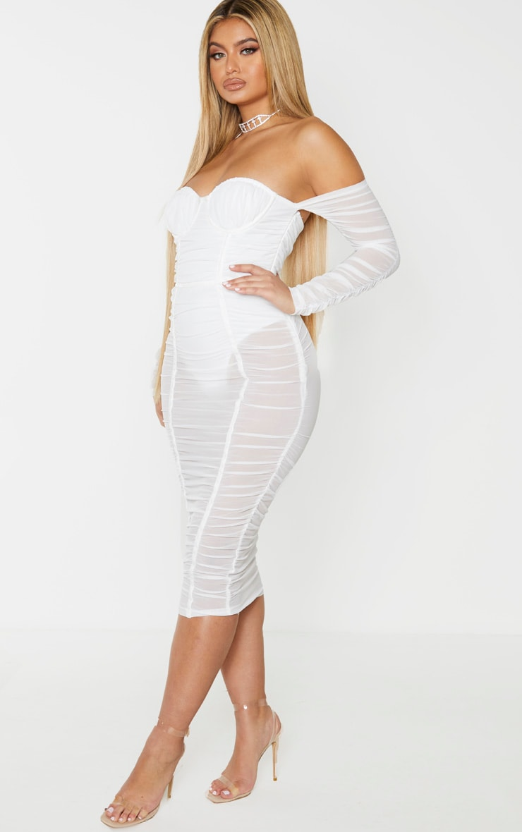 White Mesh Ruched Velvet Binded Bardot Midi Dress 1