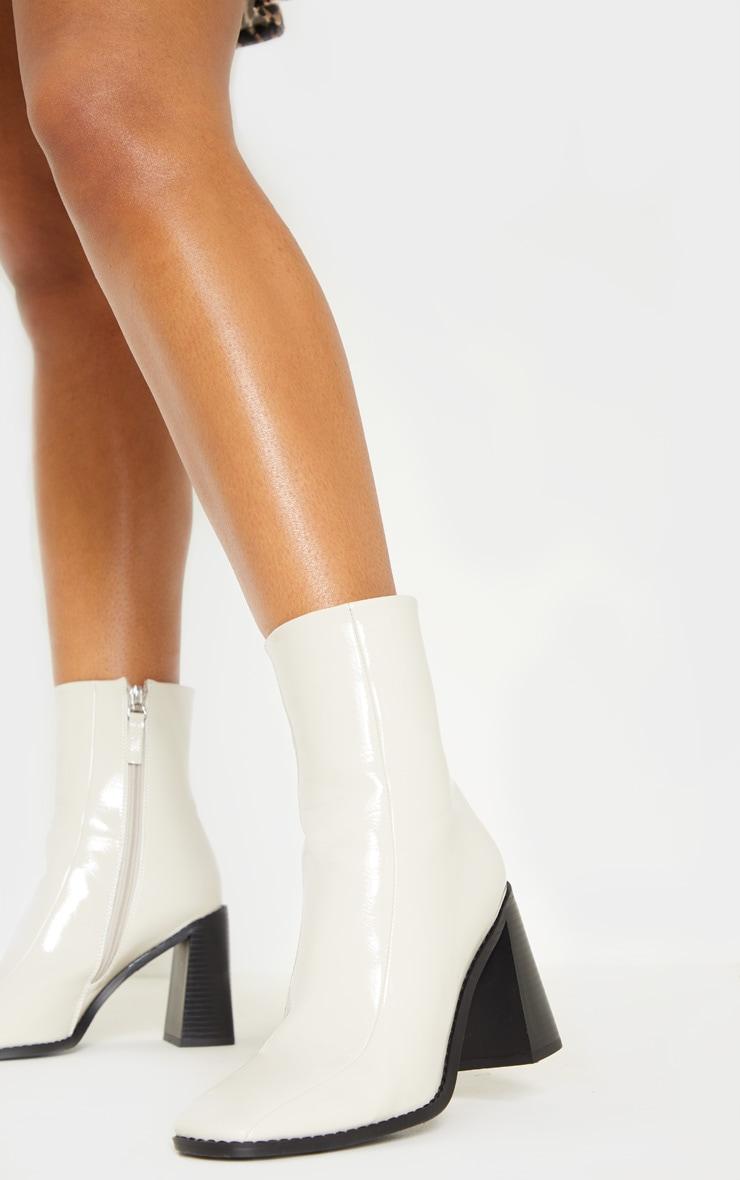 Cream Square Toe Block Heel Ankle Boot 2