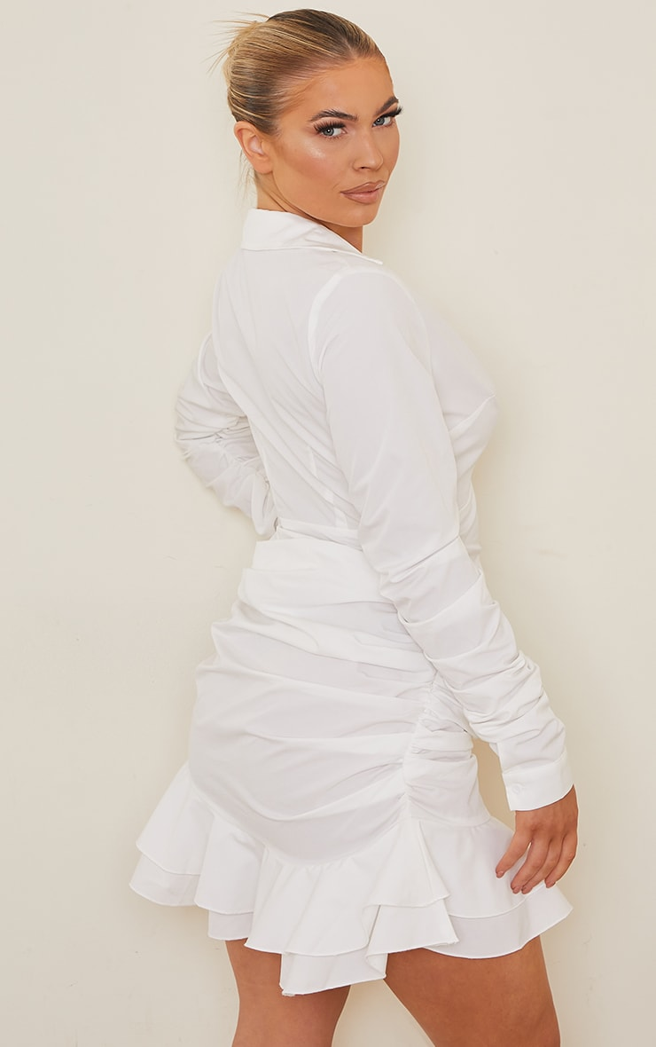 White Woven Plunge Shirt Style Frill Hem Bodycon Dress 2