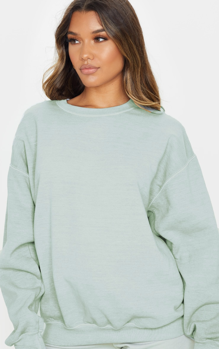 Sage Khaki Washed Ultimate Oversized Sweater 5