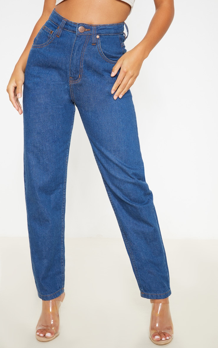 Petite Mid Wash Denim Mom Jean 2