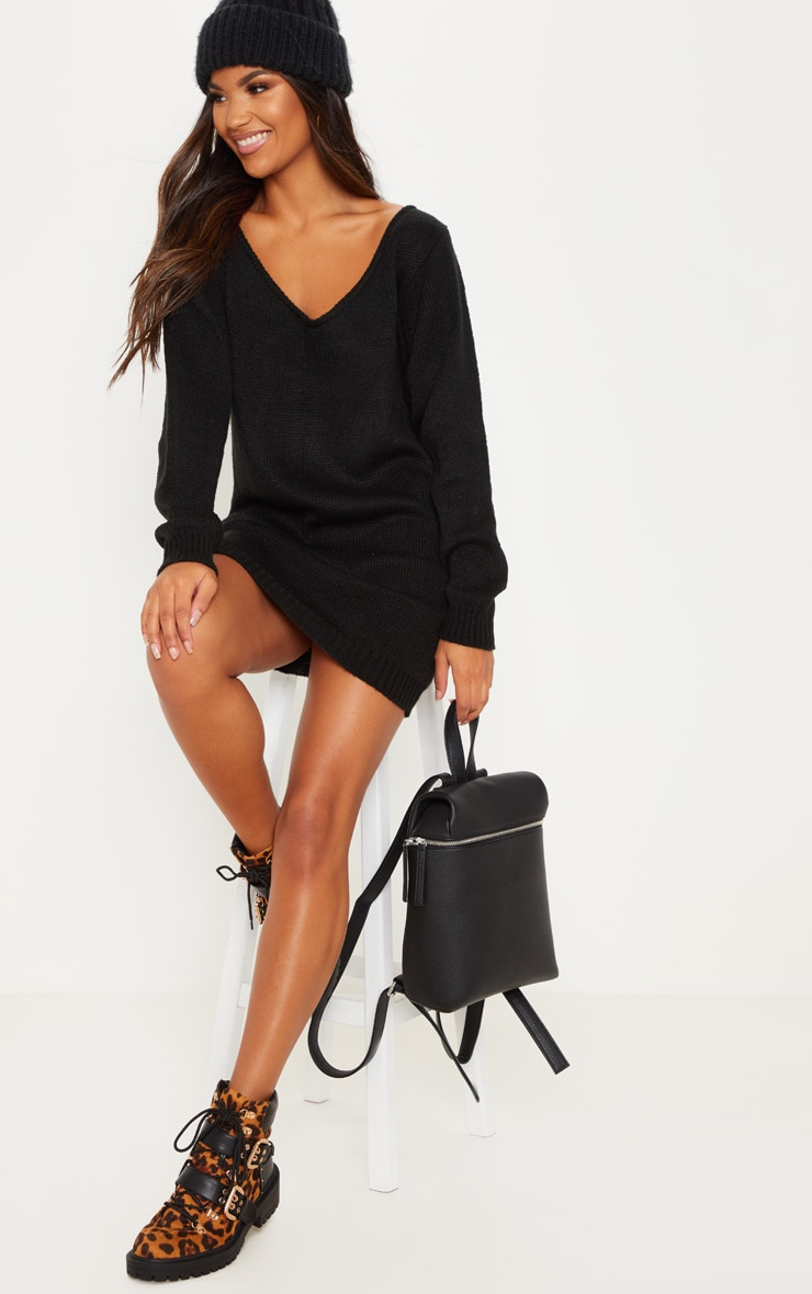 Black Soft Knitted Off Shoulder Mini Dress 4